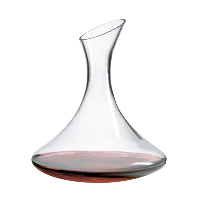 A decanter with red wine inside