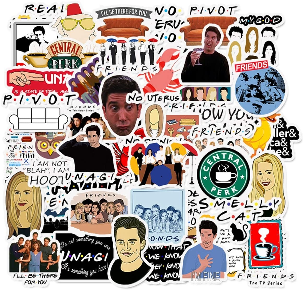 Stickers with quotes and images of iconic moments from Friends