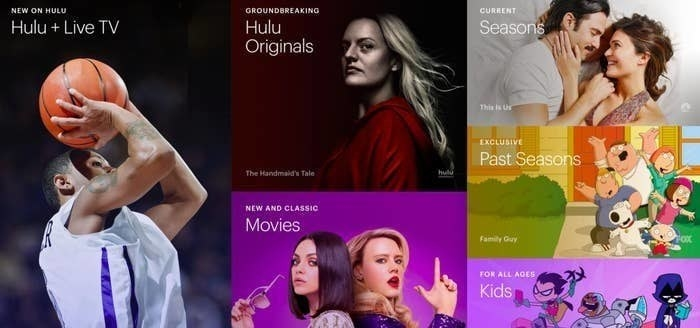 various categories on hulu including live tv, hulu originals, movies, kids, and more