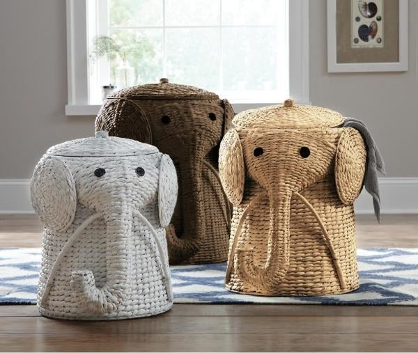 three Animal Laundry Hamper in white, brown, and natural