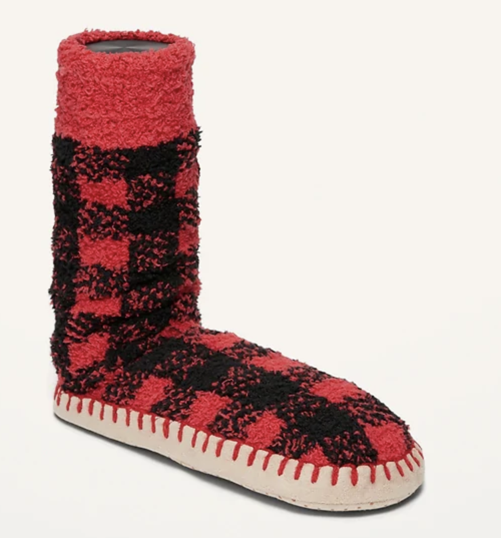 A pair of red and black plaid slipper socks