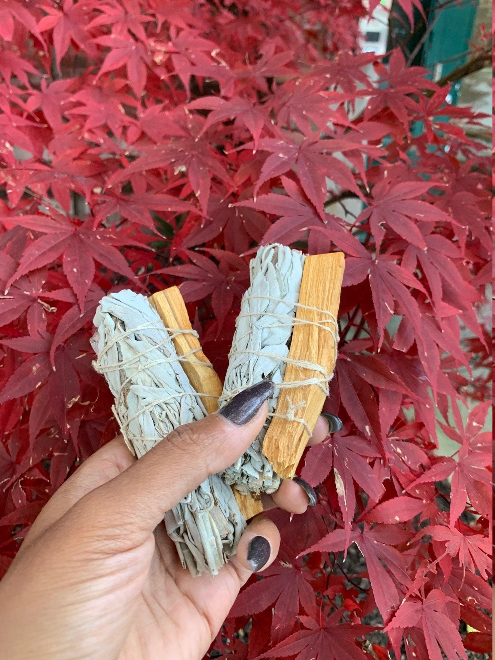 a model holding the sage and palo santo stick bundle