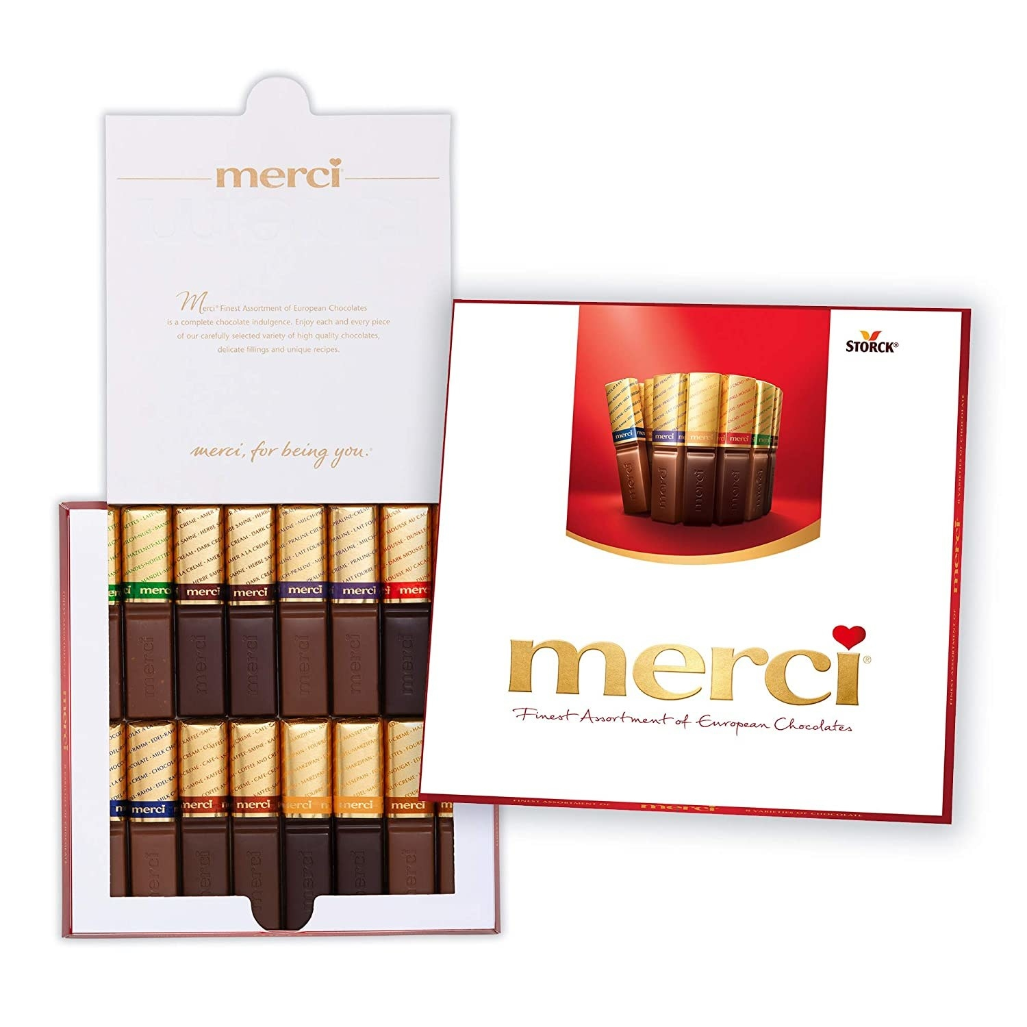 """Small rectangular pieces of chocolate in a white box that says """"merci"""""""