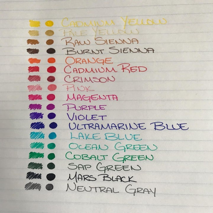 a sample sheet of how each pen from the set looks