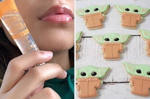 lip gloss and baby yoda cookies