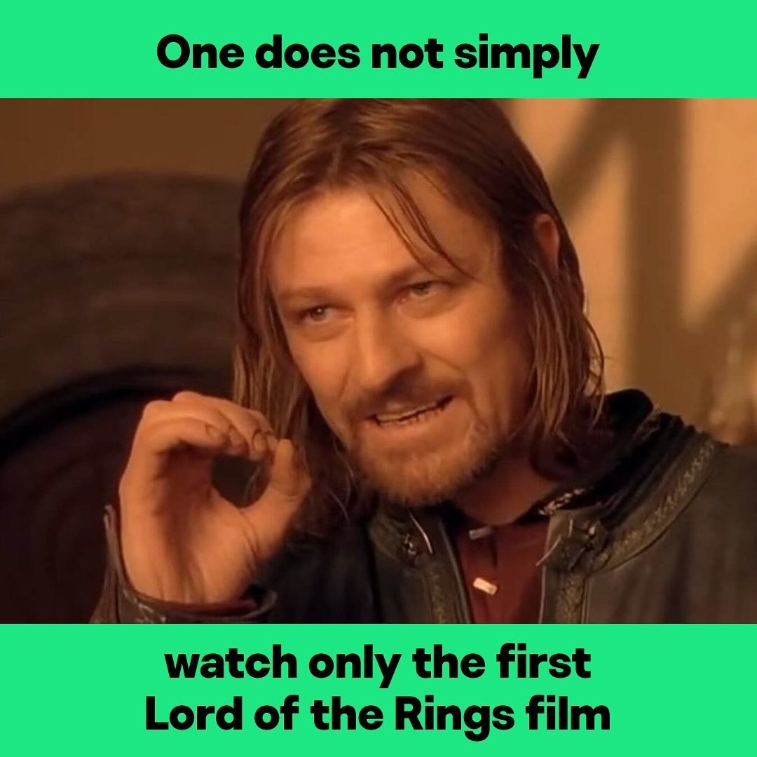 "Meme of Sean Bean from LOTR with the text ""One does not simply watch only the first Lord of the Rings film"""