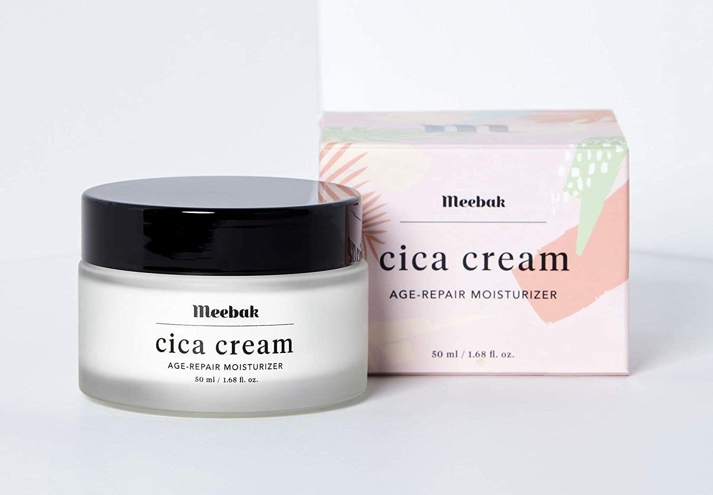 jar and box of Meebak cica cream age-repair moisturizer