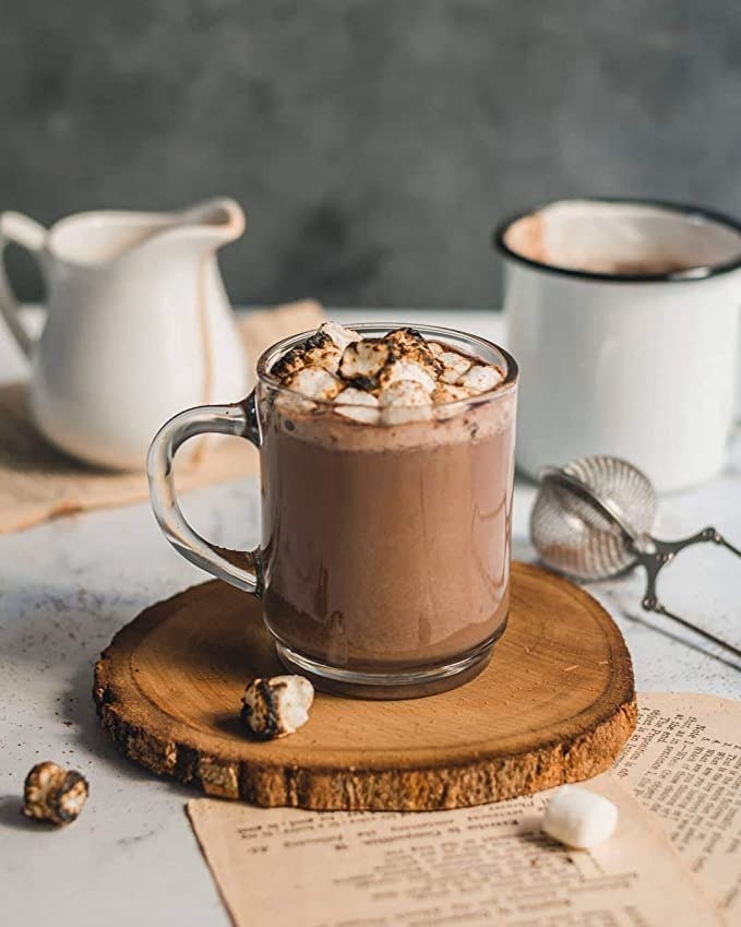Mug of hot chocolate with marshmallows in it.