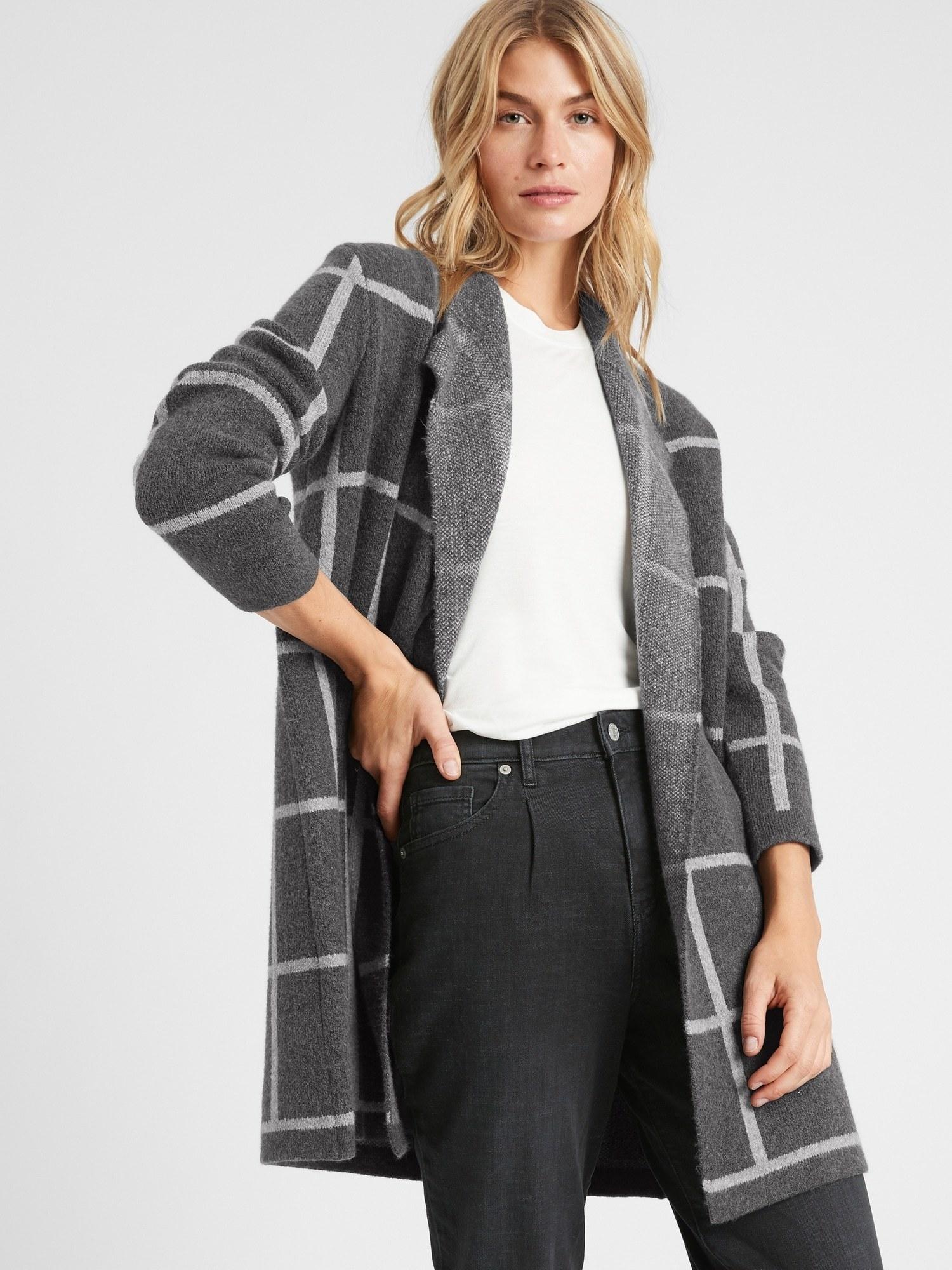 model wearing grid open-front cardigan in charcoal grey