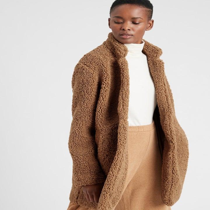 model wearing teddy coat