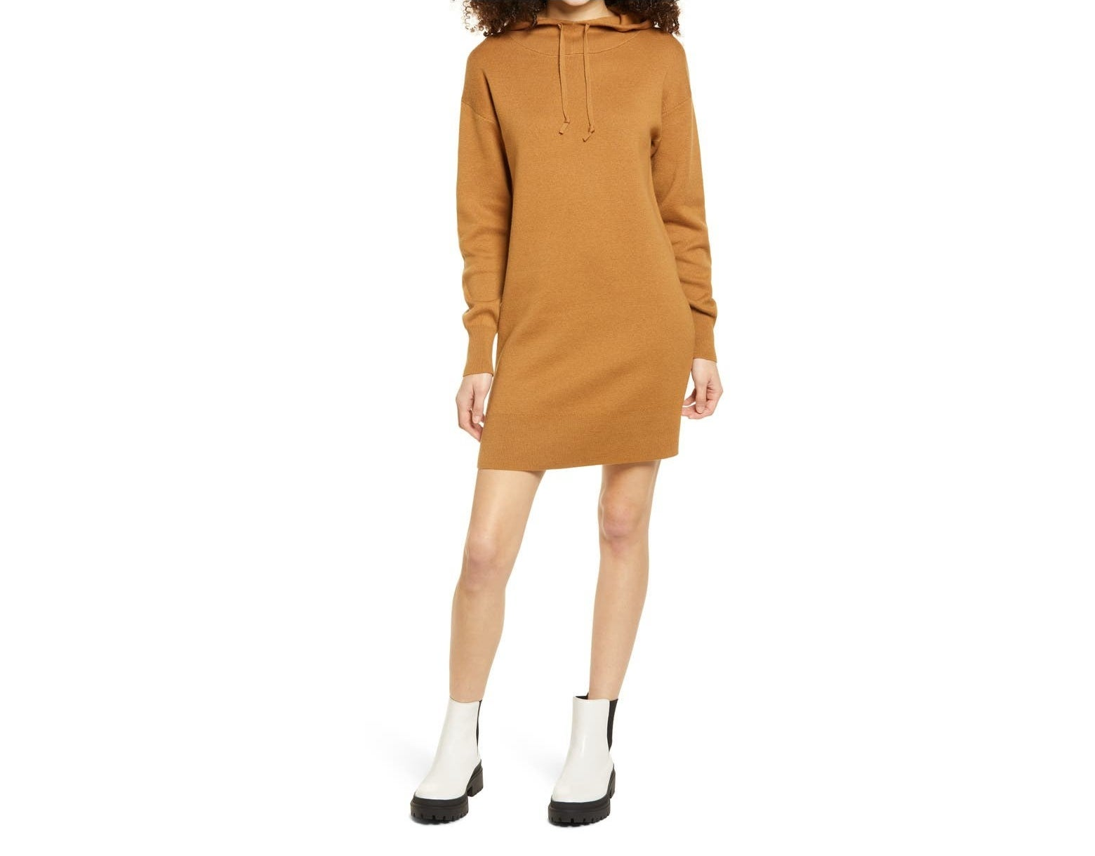 Model wearing the mustard dress with white lug sole boots