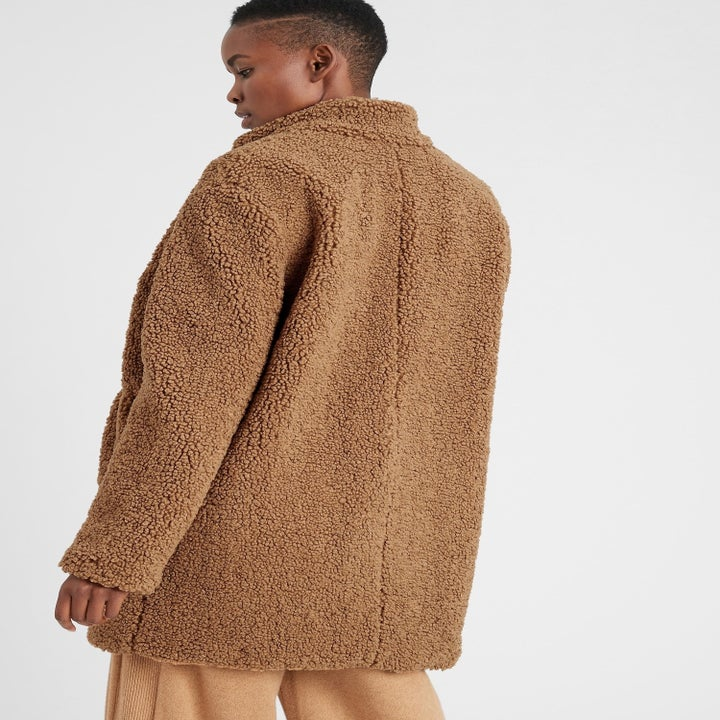back of model wearing teddy coat