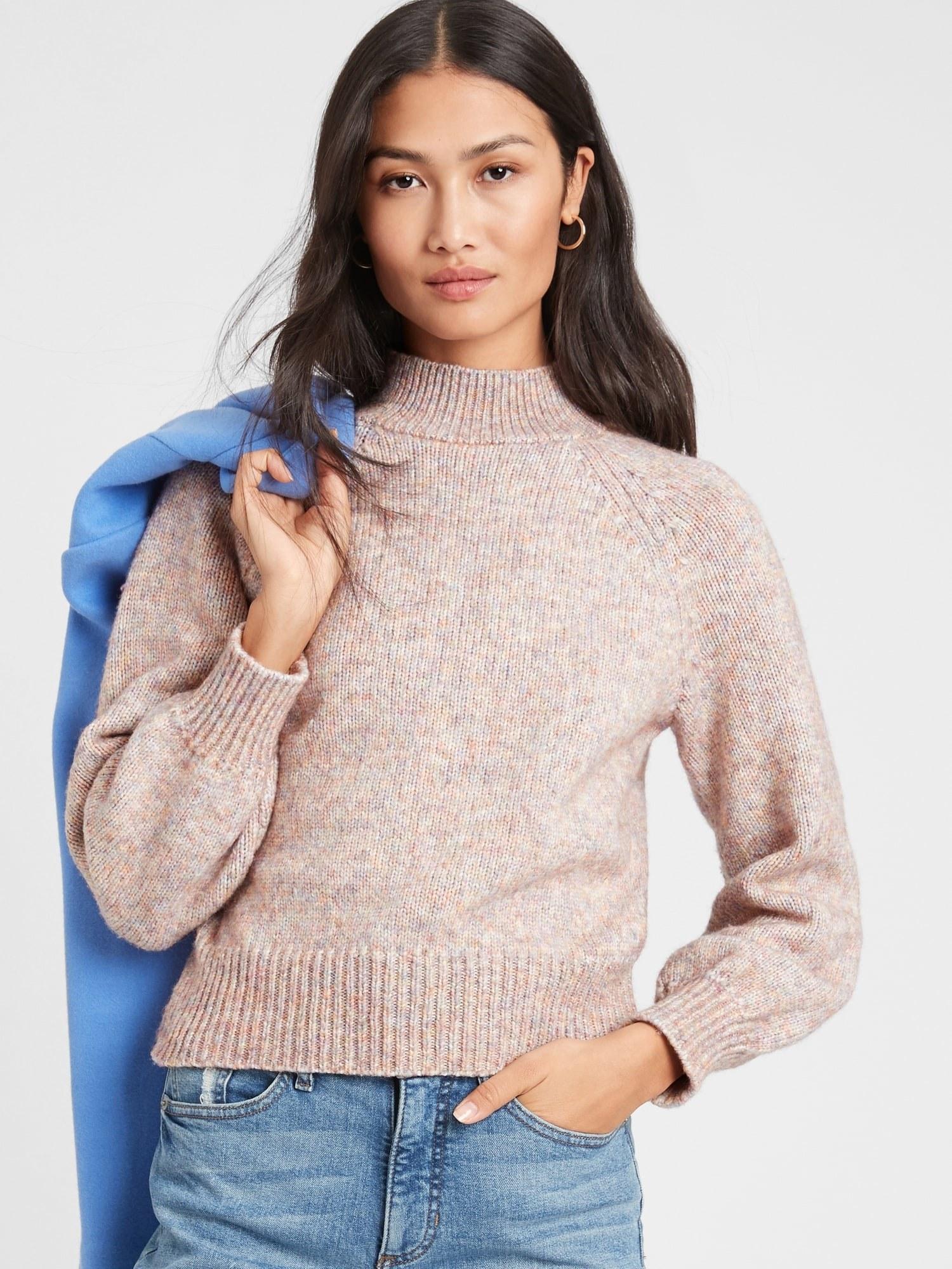 model wearing spacedye mockneck sweater in beige