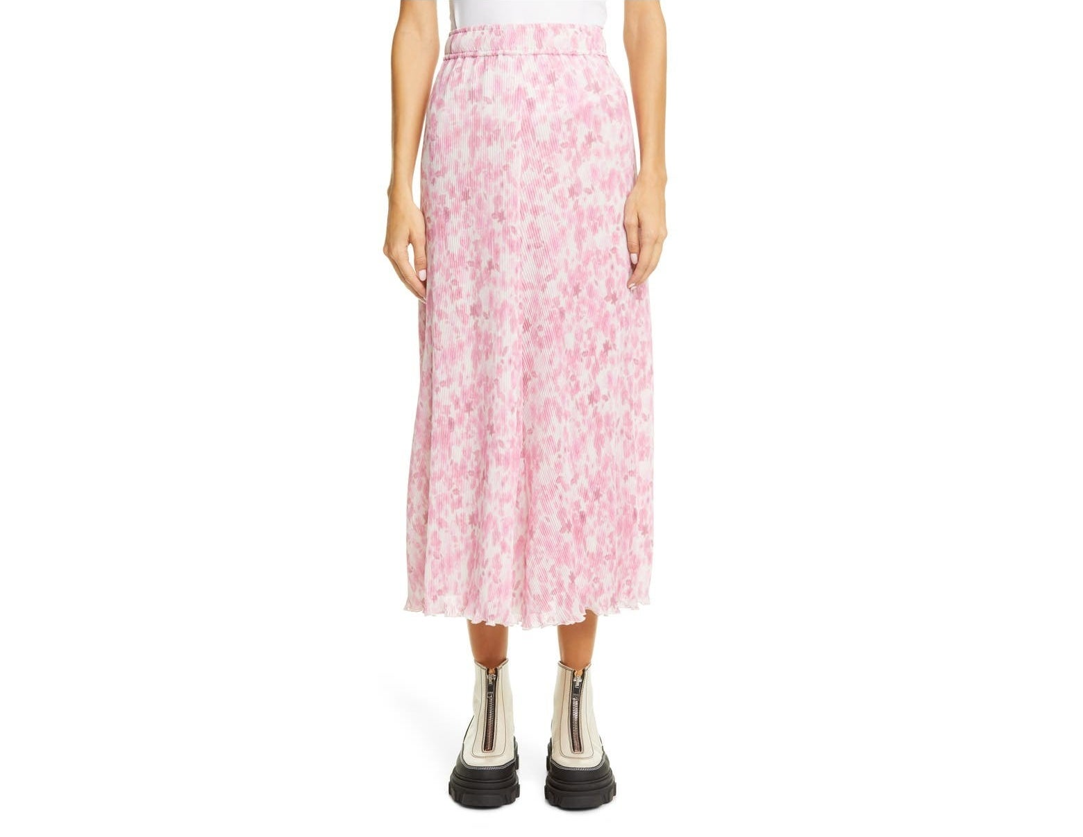 The pink and white pleated midi skirt