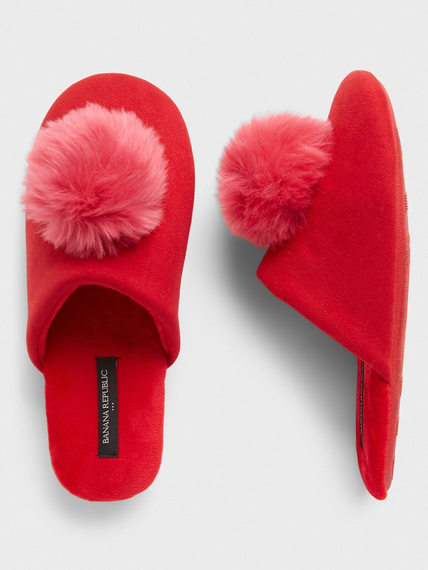 pom slippers in saucy red