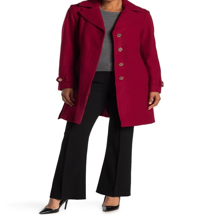 a long peacoat in red