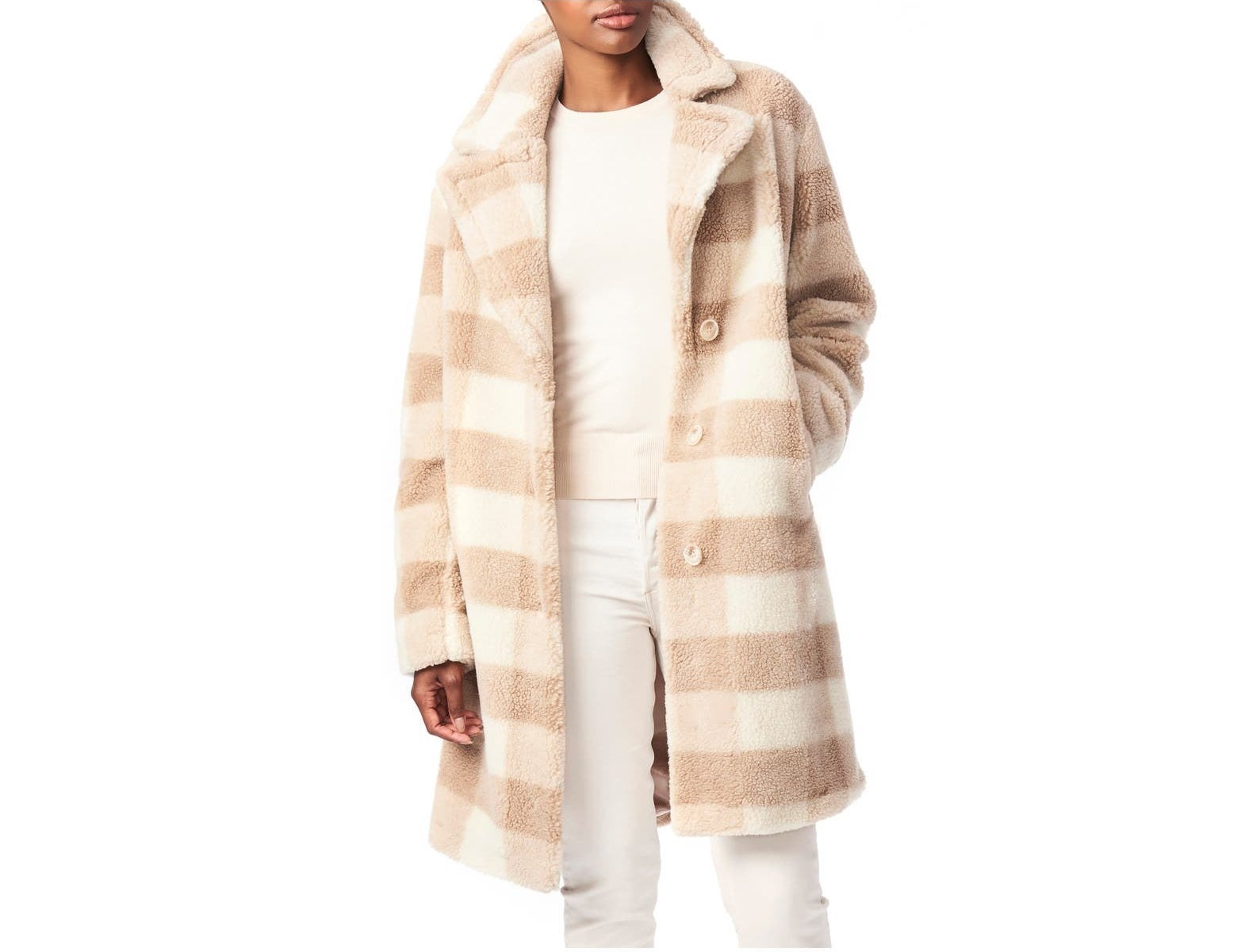 Model wearing the cream and tan check collared coat