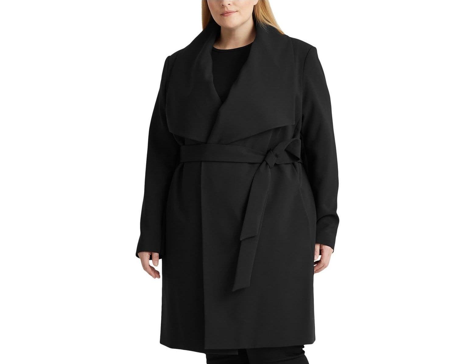 Model wearing the coat in black
