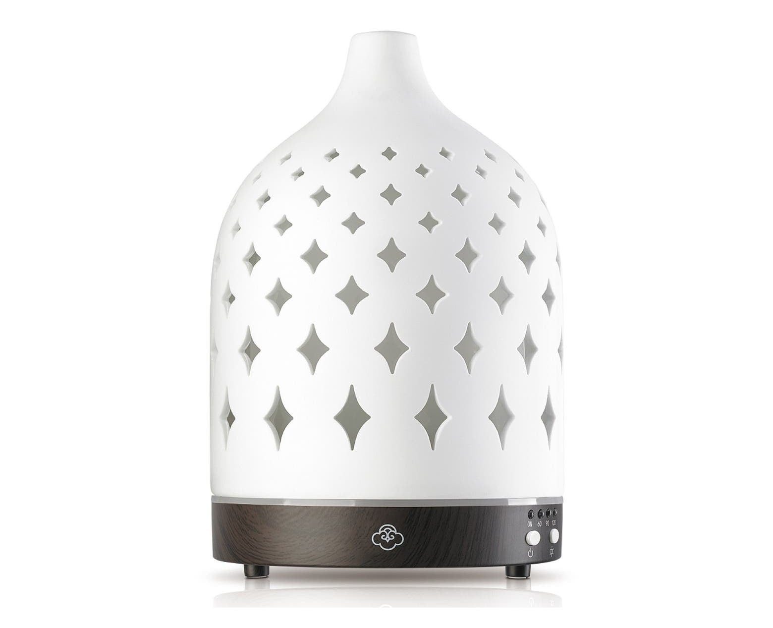 The white diffuser with diamond-shaped cutouts on the side
