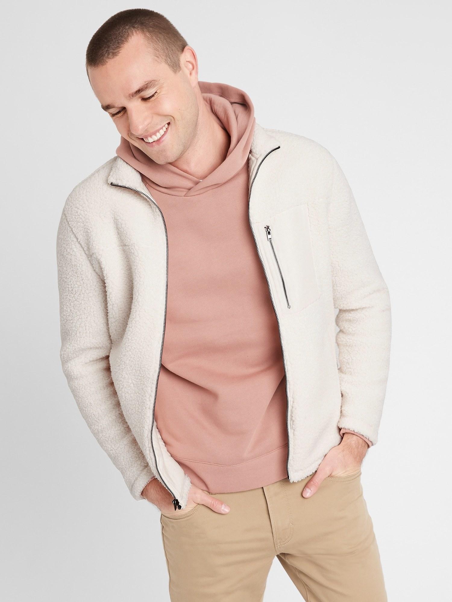 model wearing sherpa jacket in white down