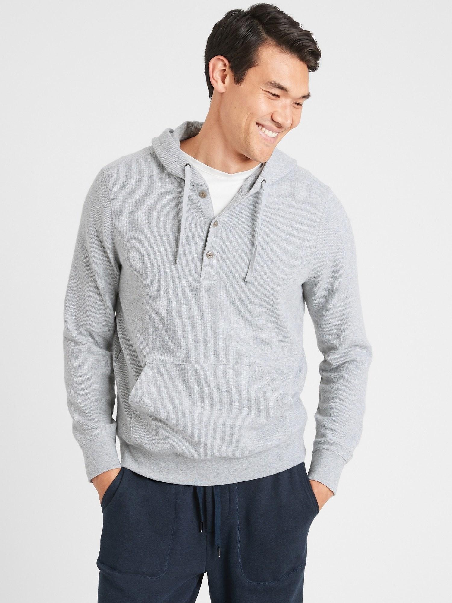 model wearing eco hoodie sweatshirt