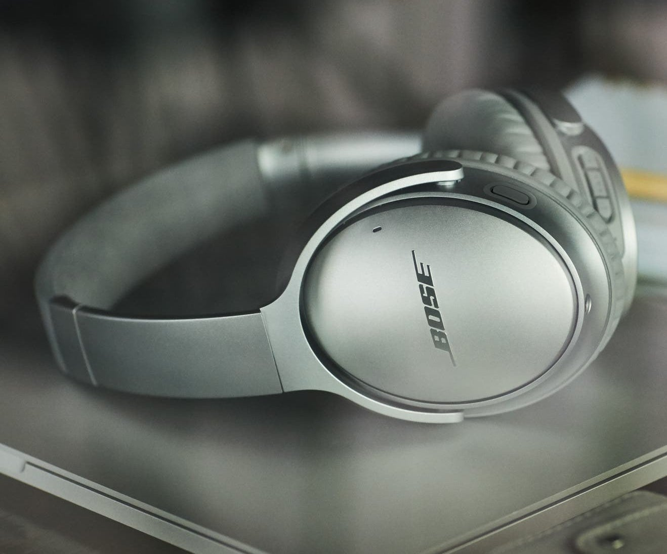 The headphones in silver