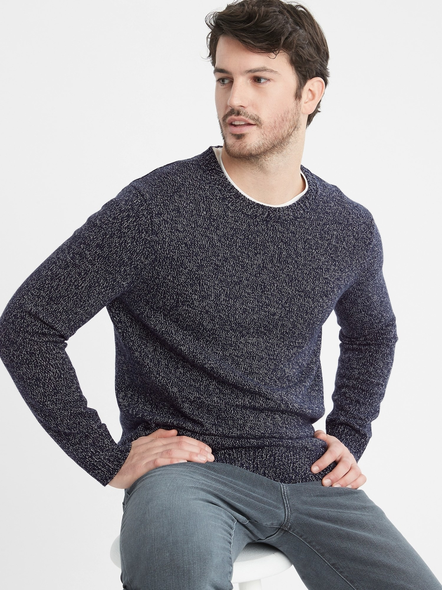 model wearing marled crewneck sweater in midnight navy