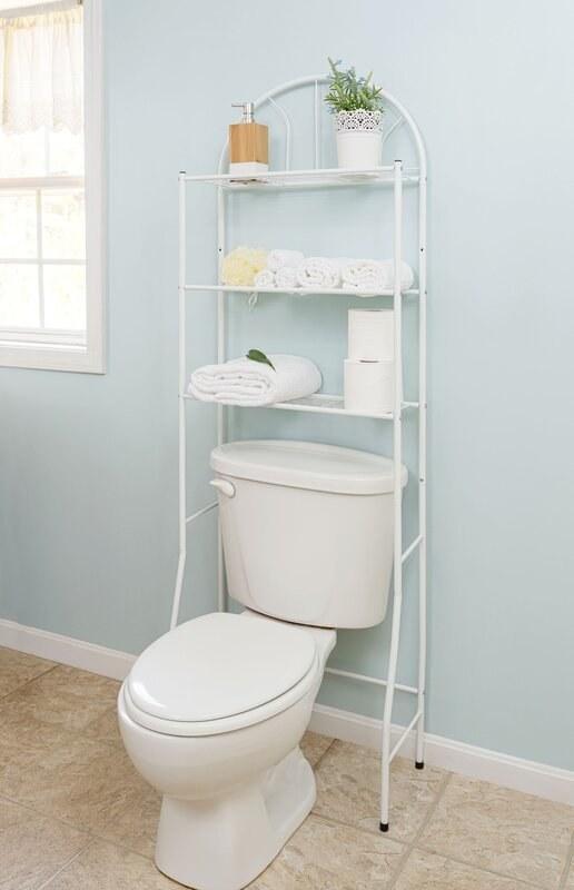 white metal storage unit with three shelves