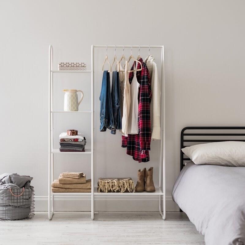 "the 17 stories Reavis 16.1"" white Garment Rack in a bedroom"
