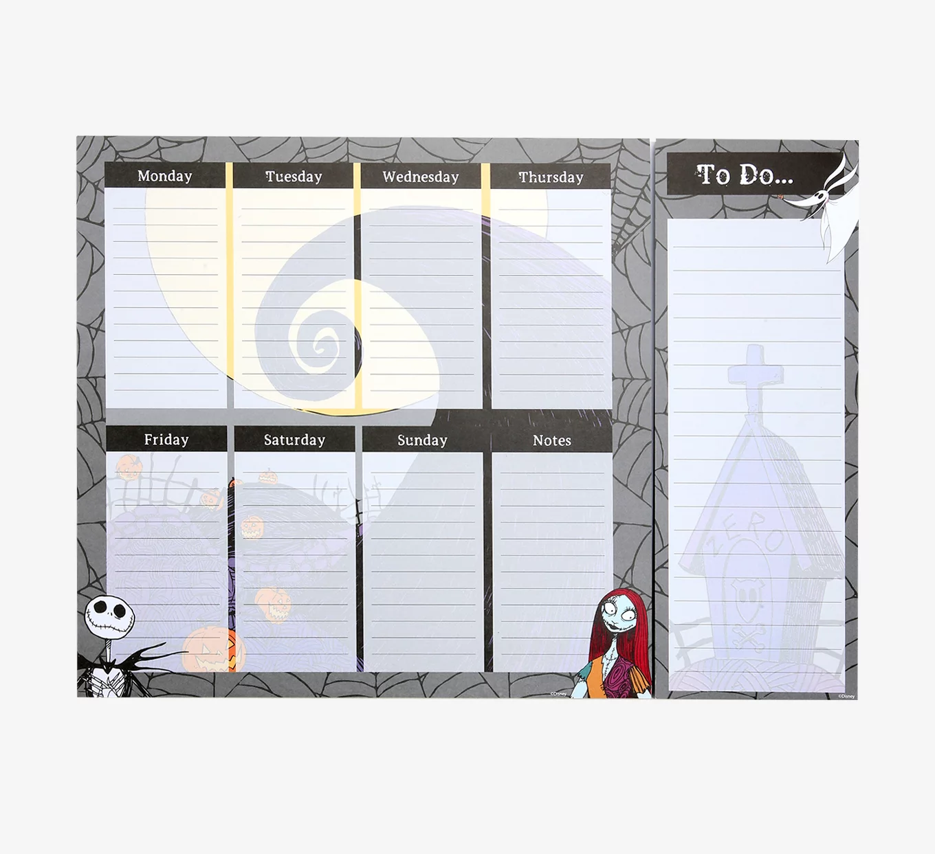a peel-off notepad with jack and sally and room for notes each day of the week plus a to-do pad