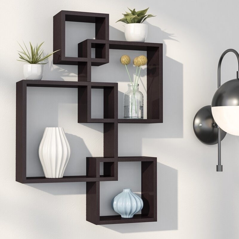 the espresso Vernonburg Square Accent Shelf mounted on a wall