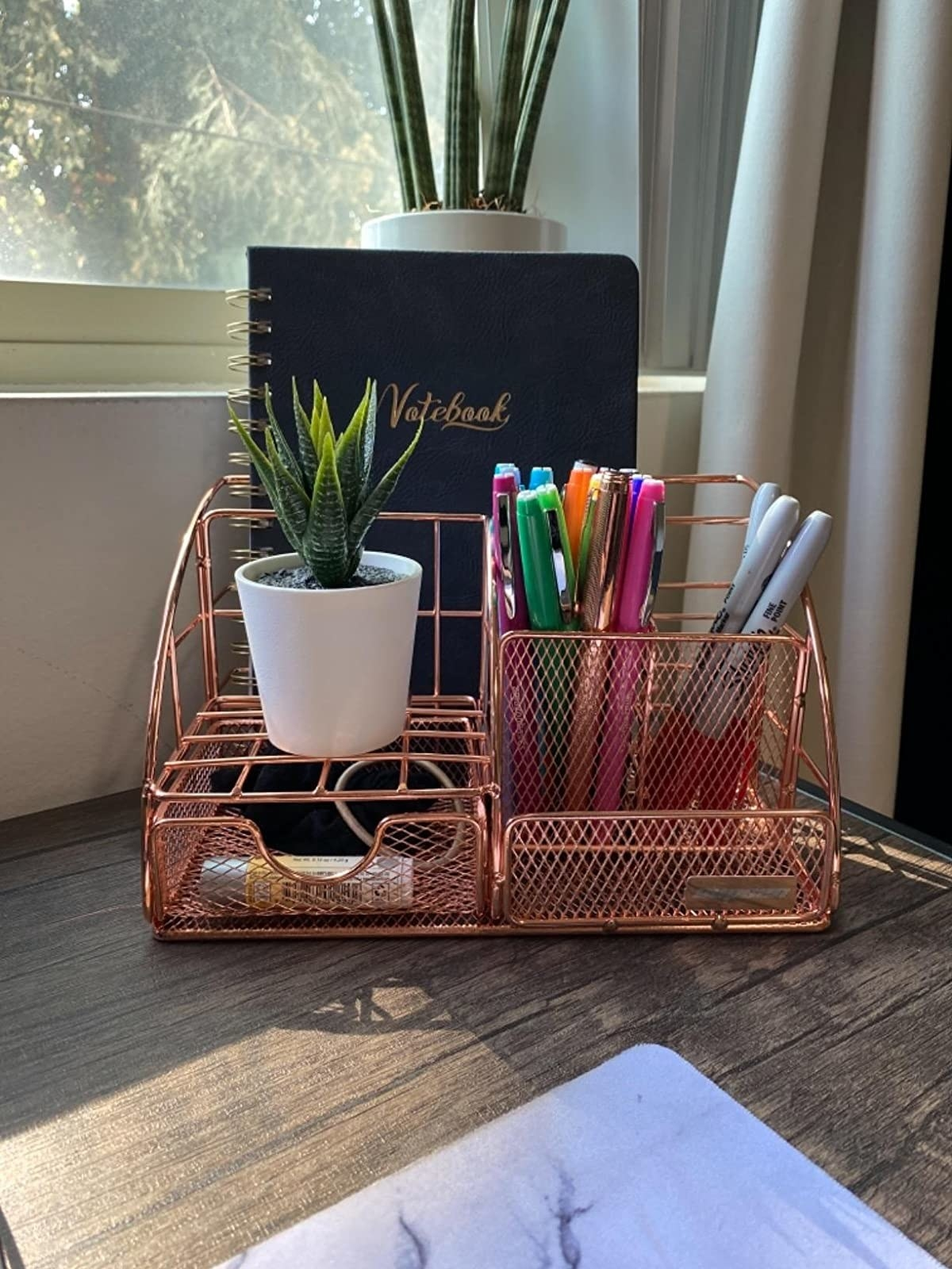 reviewer image of the rose gold desk organizer in the corner of a customer's desk holding a small succulent, pens, and a notebook