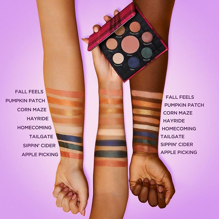 Swatches on arms of three different skin tones