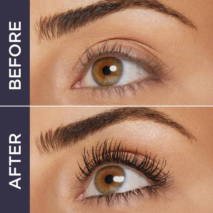 Before and after of model with darker, more noticeable lashes