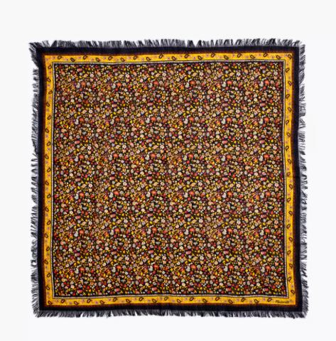 square floral scarf with black fringe along edges