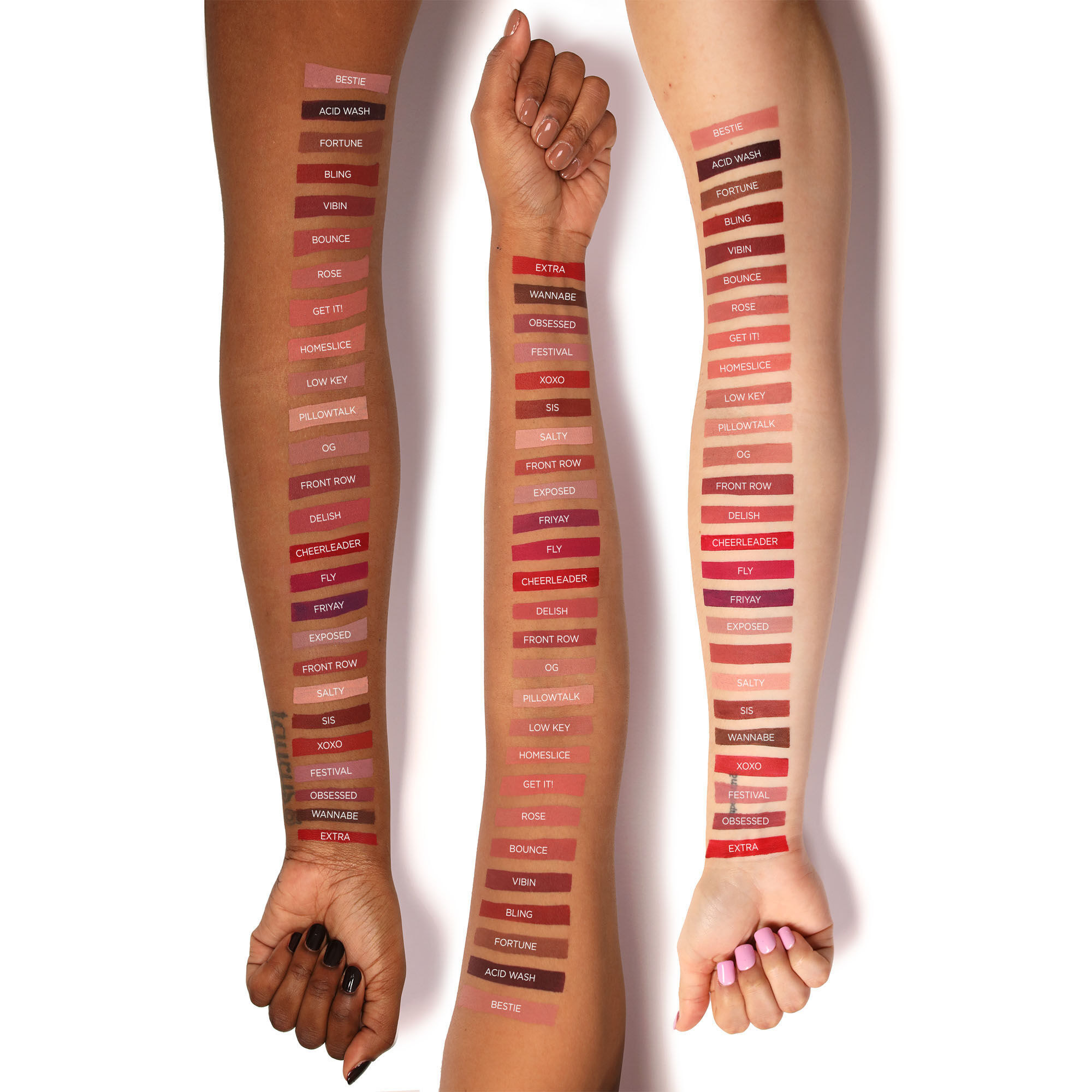 Swatches on forearms of three different skin tones