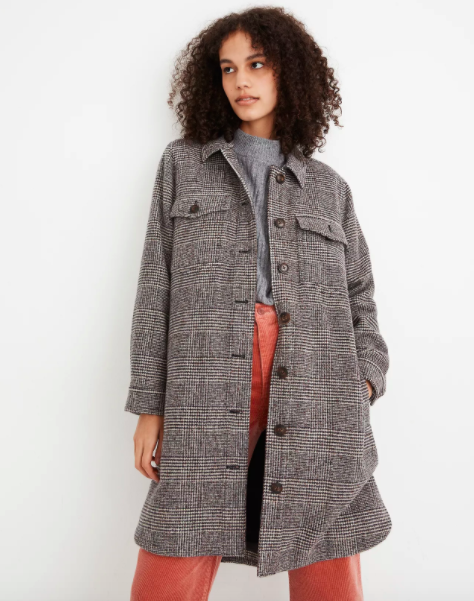 Model wearing gray plaid coat with large buttons