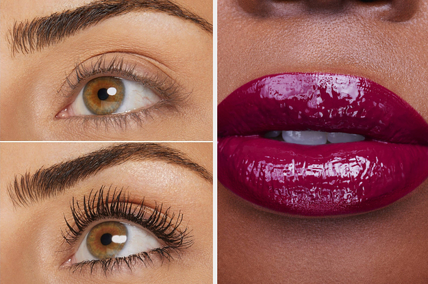 L: Before and after of model with darkened, more noticeable lashes after applying mascara R: Model wearing dark berry gloss