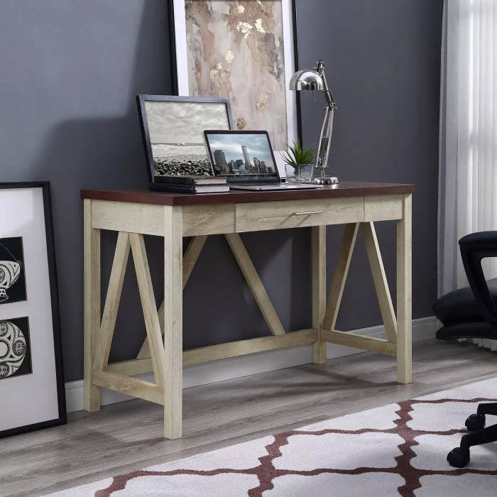 The A-frame desk with a white-oak body and an espresso countertop