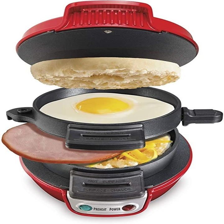 the breakfast sandwich maker with a layer to insert the english muffin, egg, and meat