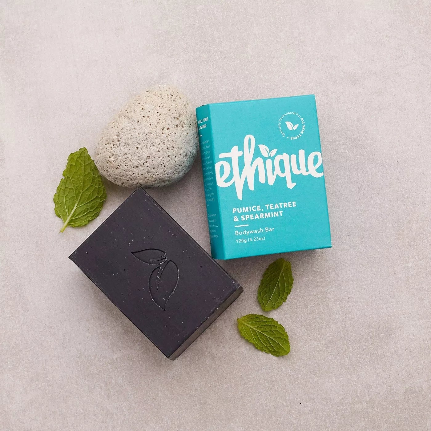 Ethique pumice, teatree, and spearmint bodywash bar