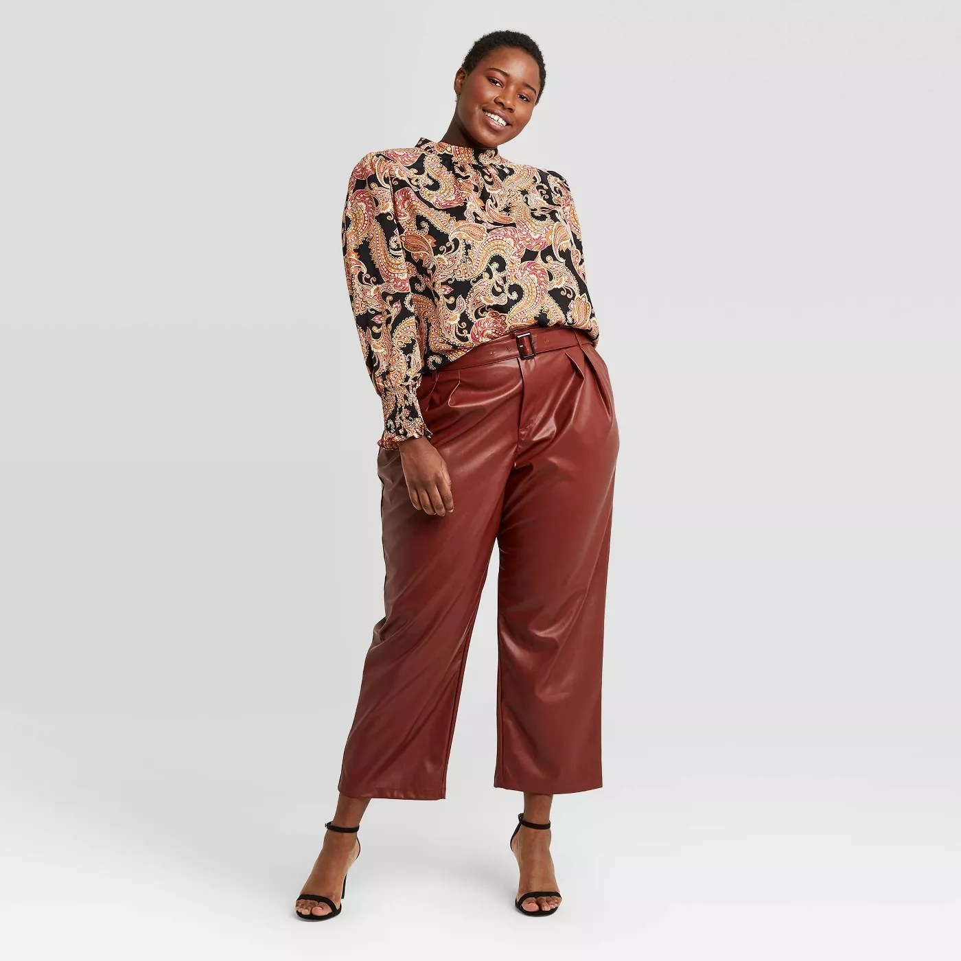 The pants in brown