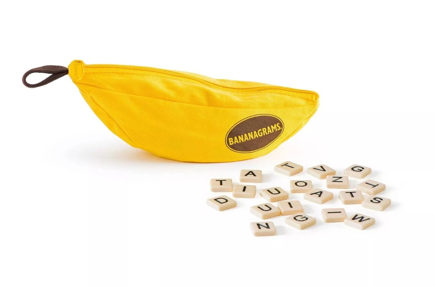 The Bananagrams tiles and pouch