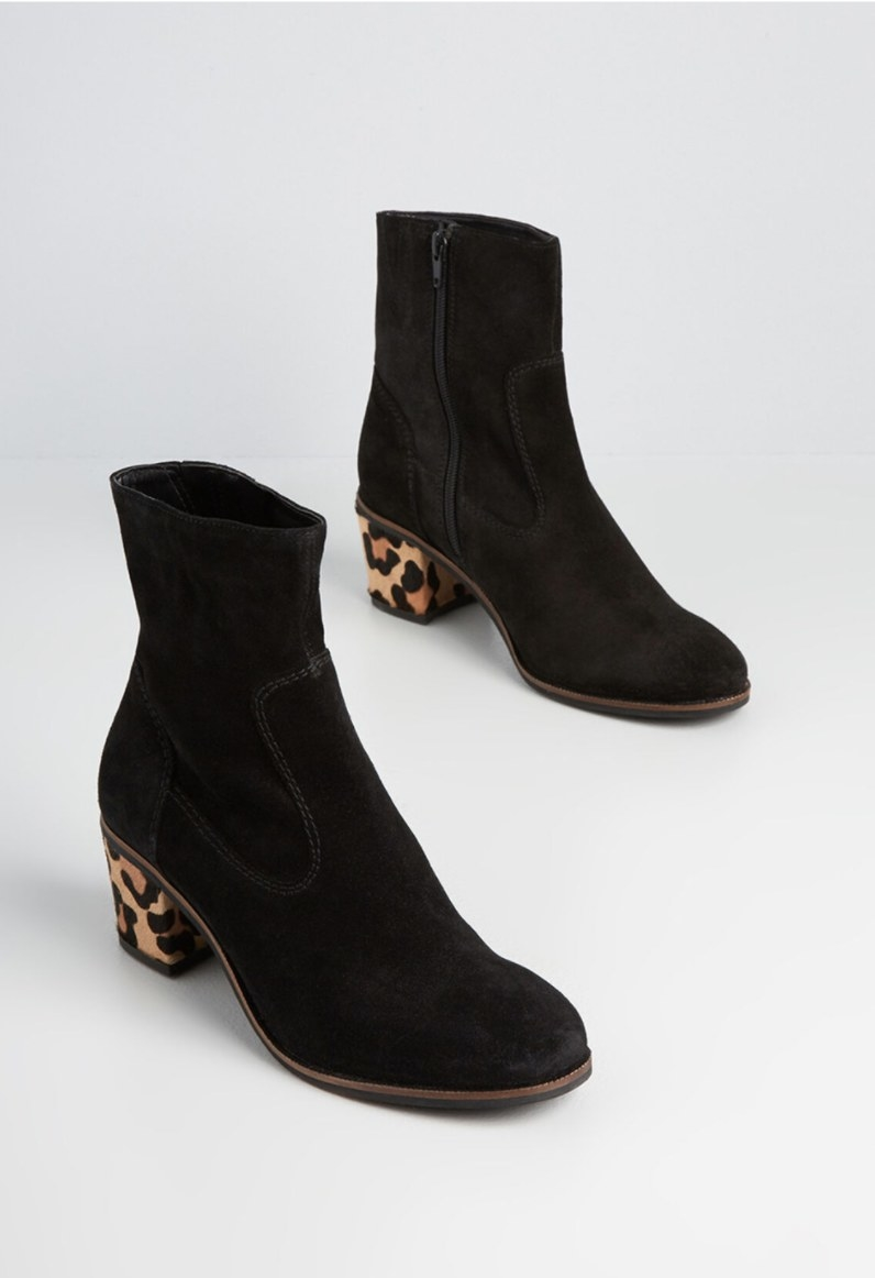The boots in black with cheetah print heels