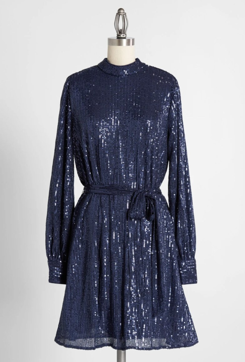 The dress in navy with sequins