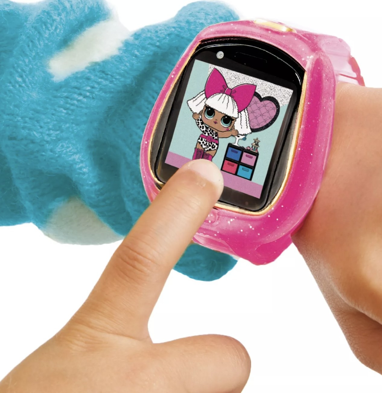 Person is wearing the pink smartwatch