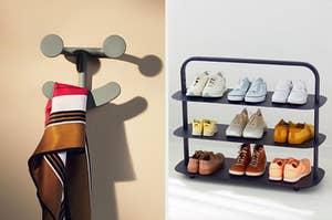 Smiley tie hook; Shoe organizer