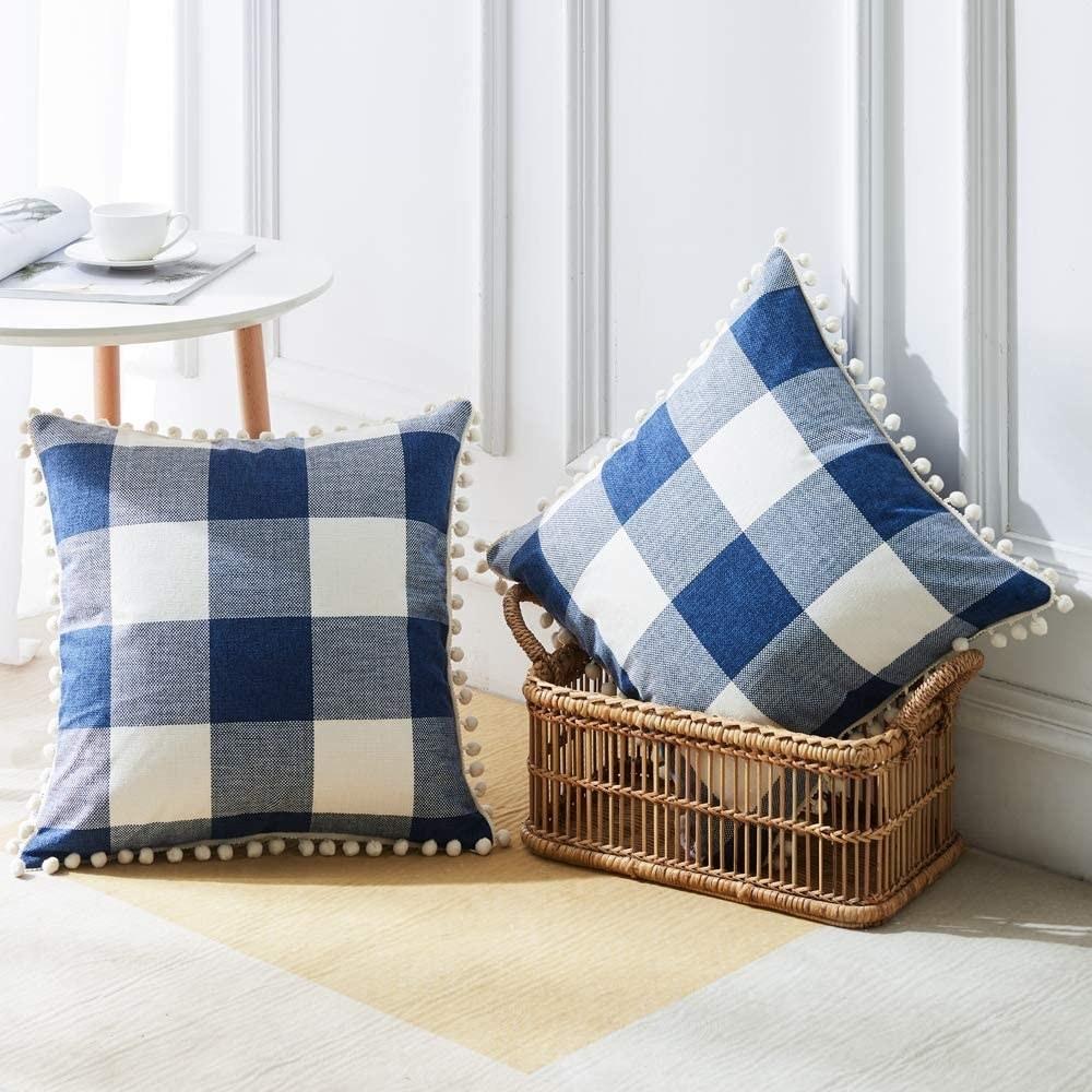 Two plaid pillows