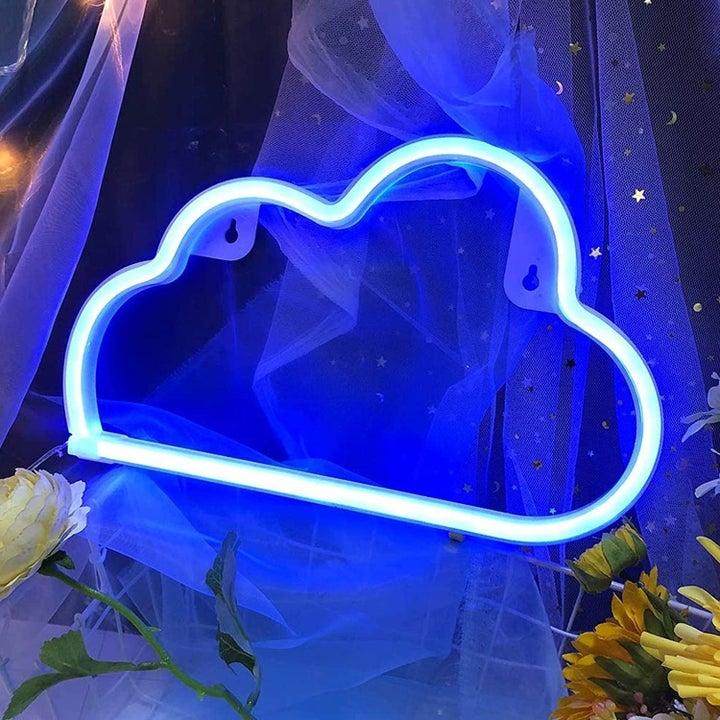 blue cloud shaped neon light