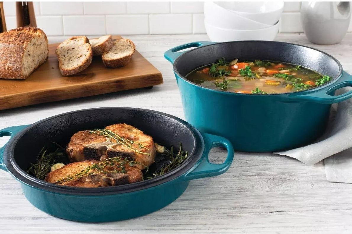 The Dutch oven and cast iron with cooked meals inside